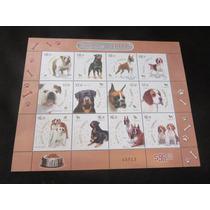 Estampilla Timbre Razas De Perros Bulldog Beagle Boxer Rottw