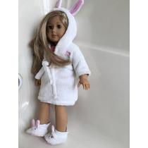 Bata De Baño (conejo) Para American Girl Con Sus Pantunflas