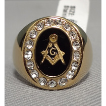 Anillo Masonico Ceremonial Templario Acero 316 Chapa De Oro