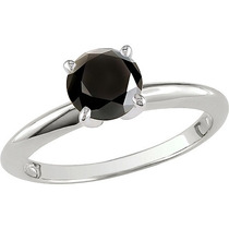 Anillo De Compromiso Oro 14k Diamante Negro 1.66 Cts