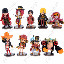 9 Figuras One Piece Luffy Nami Zoro Chopper Chibi Anime