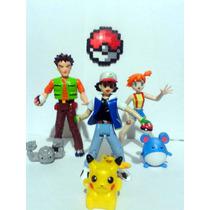 Lote Entrenadores Pokemon Ash Misty Brock Hasbro Pikachu