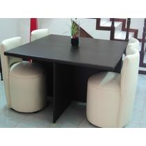 Comedor Antecomedor Mesa Y 4 Sillas Lounge Minimalistas
