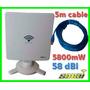 Antena Auditoria Wifi Usb Exterior 5m Cable 6800mw 58dbi 1km
