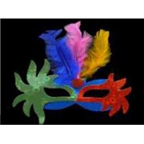 15 Antifaces De Cartón Holográfico Con Plumas 7505