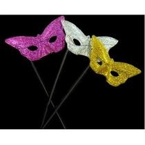 5 Antifaces Mariposa Con Palito Varios Colores 2213