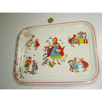 Antigua Charola De Colección De Lámina De Caperucita Roja