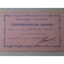 Testimonio De Honor Antiguo Centro Union