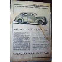 Antiguo Anuncio Ford V8 Año De 1936