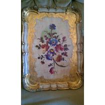 Charola Italiana Antigua De Madera Hoja D Oro Y Pintura Flor