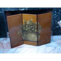 Biombo Antiguo Miniatura Madera De Caoba Pintado A Mano