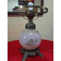 Antigua Lámpara De Mesa Con Burbuja De Cristal