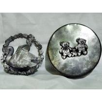 Preciosa Lata Antigua Y Medallon Decorativo Pewter Metzke