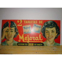 Cartel Antiguo De Mejoral De 1954 Pegado Con Poliester