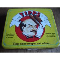 Alhajero Caja Antigua De Metal Tips Para Dejar D Fumar 1979