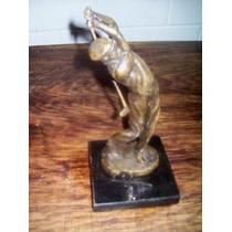 Escultura Francia Bronce Jugador De Golf Firmada Coste Hm4