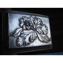 Hermoso Alhajero Caja Joyero Metal Plata Flor Hojas Calada