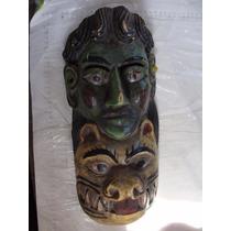 Mascara Diablo Tallada En Madera Con Cuernos Naturales Muy B