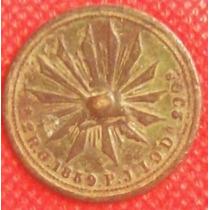 Antiguo Botón Militar México Juarez Sobre 2 Reales 1859 Hm4