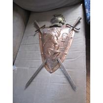 Excelente Escudo De Armas De Cobre Y Bronce