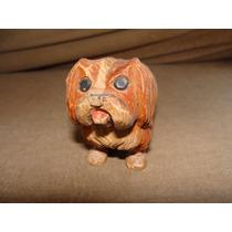 Excelente Y Antiguo Perro Tallado En Madera Hermoso,mide 7cm