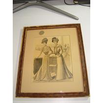 Antiguo Cuadro Vestuario Antiguo Mujeres Fondo Equitación
