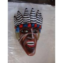 Mascara Tallada En Madera Apache Muy Bonita , Como Aparece