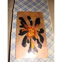 Flor, Antigua Pieza De Cobre Esmaltada Unica Mide 7x 13cm