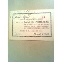Boleto Antigüo Para Baile De Primavera 1958 Helens School