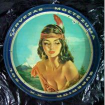 Antigua Charola Cerveza Xx Moctezuma Sol Superior 1960 ´s