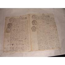 Antigua Año 1817 Hoja Antigua Escrita A Mano , Con Sellos Or