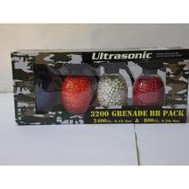 Paquete 4 Granadas Con Balines D 6mm 3200 Balines D Plastico