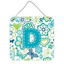 Letra D Flores Y Mariposas Azul Del Trullo Pared O Puerta Co