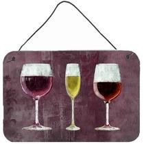 Tres Vasos De Vino Púrpura Pared O Puerta Colgante Impresio