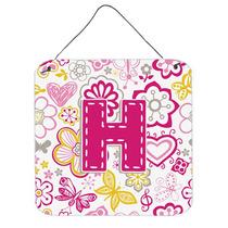 Letra H Flores Y Mariposas Pared De Color Rosa O Puerta Colg