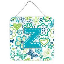 Letra Z Flores Y Mariposas Del Trullo Azul De La Pared O Pue