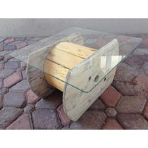 Mesa Vintage, Carrete De Madera Con Cristal, Diseño Original