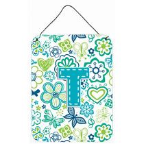 Letra T Flores Y Mariposas Del Trullo Azul De La Pared O Pue