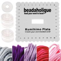 Set Kumihimo Placas Cuadradas Y Carretes Rosas Y Púrpuras