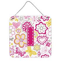 Letra I Flores Y Mariposas Pared De Color Rosa O Puerta Colg