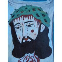 Retablo Pintura En Lamina De Cobre Jesucristo