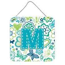 Letra M Flores Y Mariposas Azul Del Trullo Pared O Puerta Co