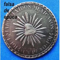 Moneda Mexico 1 Peso 1914 Muera Huerta Falsa Epoca Durango