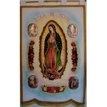 Estandarte Bordado Fino Virgen De Guadalupe Con Carita Real