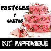 Kit Imprimible Pasteles Con Cajitas Cumpleaños Souvenir