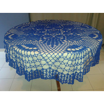 Mantel Redondo Tejido A Mano Color Azul