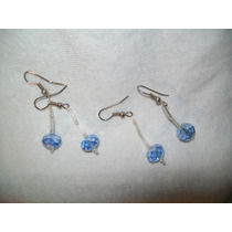 Gcg Lote Aretes De Cristal Cortado 2 Pares Azul Bolitas