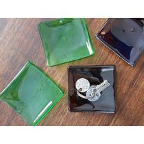 4 Platos Artesanales De Vidrio Reciclado 9 X 9cm X 4mm