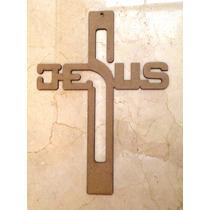 Cruz De Madera Con La Palabra Jesus De 20 Cms / 6mm