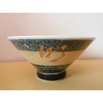 Plato Bowl Tazon Arroz Kanji Dorado Oriental Japon Souvenir